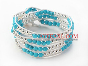 Blue Series Round Turquoise and Silver Color Metal Beads Bracelet