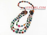 Multi Layer Multi Color and Crystal and Agate Necklace