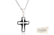 Great Offer!!!  Crystal Cross Pendant Sterling Silver Chain