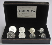 Silver Plated Australian Coin Cufflinks – 4 Pair Set