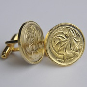Gold Plated Two Cent Coin Cufflinks