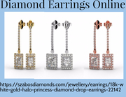 Buy 18K Yellow Gold Halo Princess Diamond Earrings Online