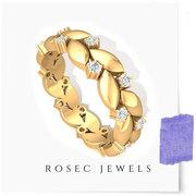 Vintage Leaf Floral Full Eternity Ring,  Round Diamond Gold Wedding Rin